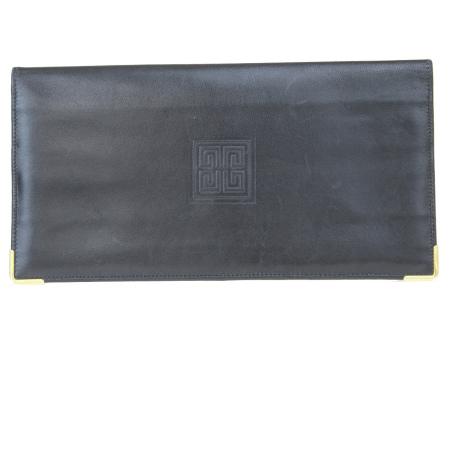 【中古】 ジバンシー GIVENCHY 二つ折り 札入れ カード入れ 長財布 ブラック レザー 07ER127