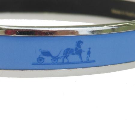 エルメス HERMES エマイユ バングル ブレスレット 七宝焼き ブルー シルバー メタル 保存箱付き 69BG172Y67fyvgb