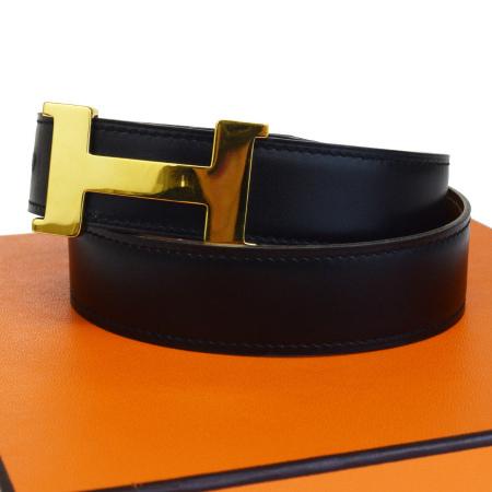 【中古】 エルメス HERMES ベルト Hロゴ ブラック ゴールド レザー メタル 65cm □B刻印 保存袋 保存箱付き 64BG468
