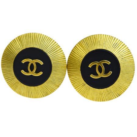 送料無料 【中古】 シャネル CHANEL イヤリング ココマーク ゴールド ブラック メタル プラスチック 95C 05BG429