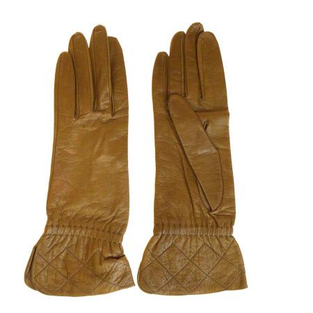 【中古】 シャネル CHANEL 手袋 グローブ ブラウン レザー シルク レディース 7.5 09BG475