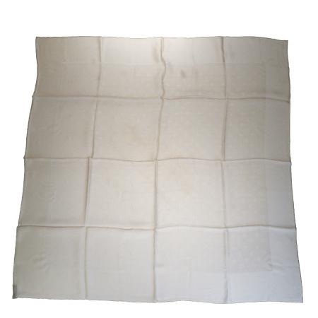 送料無料 【中古】 超美品 ルイヴィトン LOUIS VUITTON 大判 スカーフ モノグラム ベージュ シルク 100% 08BG609