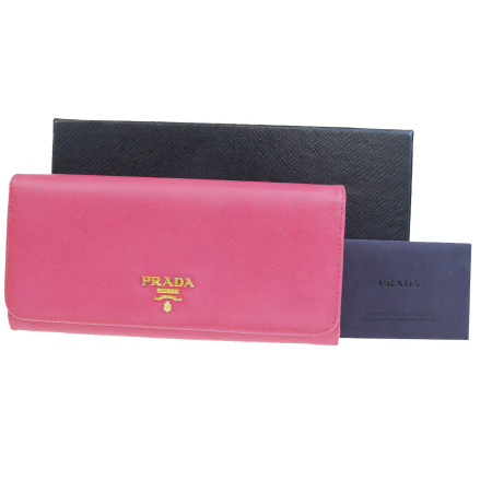 【中古】 プラダ PRADA 二つ折り 長財布 サフィアーノ ピンク レザー 保存箱付き 01BG795