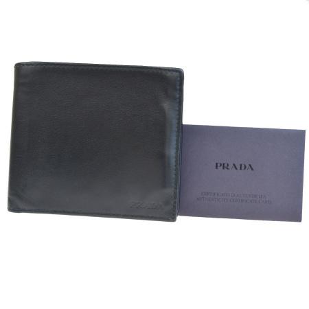【中古】 プラダ PRADA 二つ折り 財布 ブラック レザー 66BG888