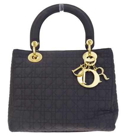 【中古】 中美品 クリスチャンディオール Christian Dior ハンドバッグ レディディオール カナージュ ブラウン キャンバス 69BJ055