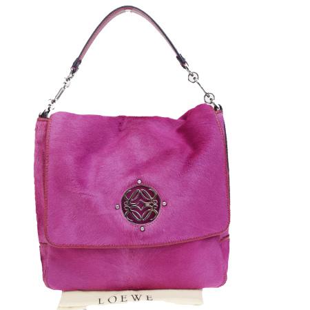 【中古】 美品 ロエベ LOEWE ショルダーバッグ ピンク ハラコ レザー 保存袋付き 65BJ068