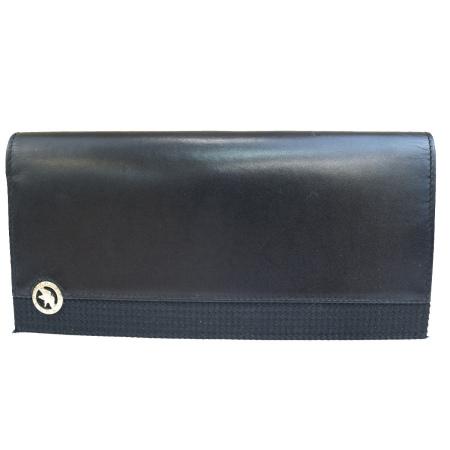【中古】 ハンティングワールド HUNTING WORLD 二つ折り 長財布 ブラック レザー キャンバス 08BJ198