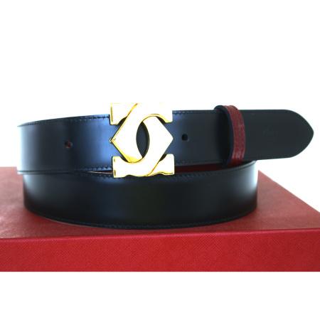 【中古】 美品 カルティエ Cartier ベルト バックル リバーシブル ボルドーレッド ブラック ゴールド レザー メタル 保存箱付き 62BJ595