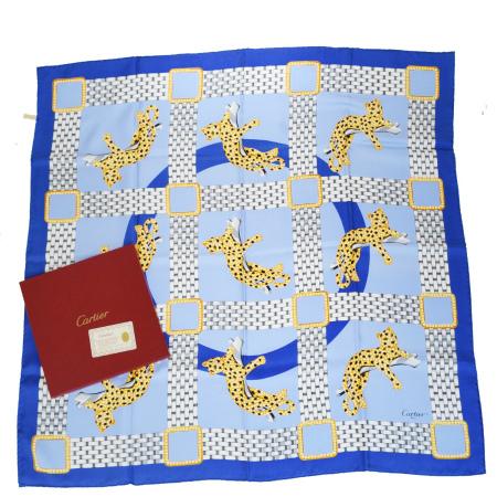 【中古】 美品 カルティエ Cartier 大判 スカーフ ブルー シルク 100% 保存箱付き 02ER052