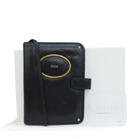 送料無料 【中古】 クロエ Chloe 手帳カバー リング カード入れ ブラック レザー 保存袋付き 保存箱付き 08JA222