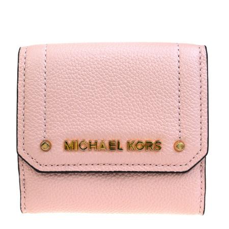 【中古】 中美品 マイケルコース MICHAEL KORS 三つ折り 財布 パスケース ピンク レザー 01JA223