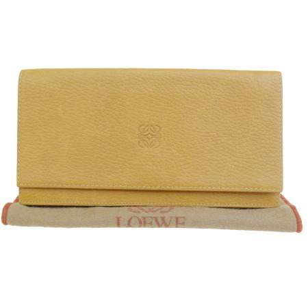 【中古】 ロエベ LOEWE 二つ折り 長財布 ブラウン レザー 保存袋付き 08ER134