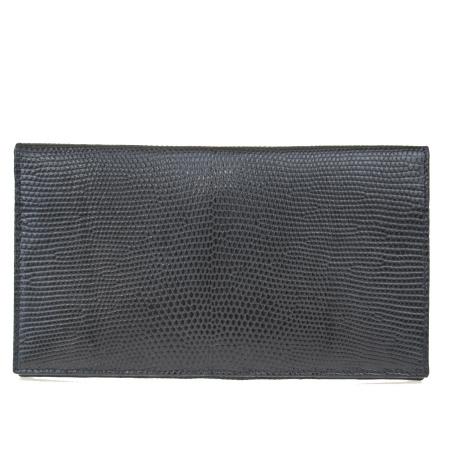 【中古】 外美品 ダンヒル dunhill 二つ折り 札入れ カード入れ 財布 リザード型押し ブラック レザー メンズ 01ER125