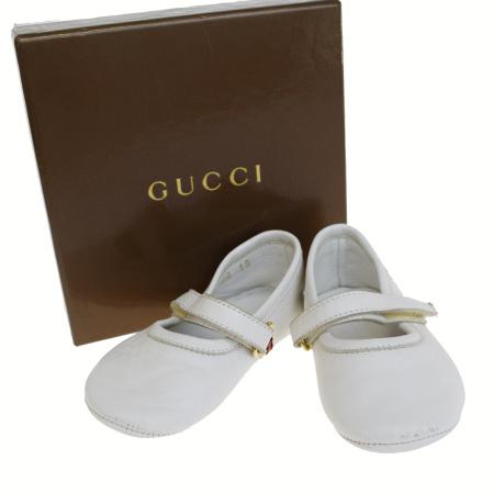 【中古】 グッチ GUCCI シェリー ベビー ファースト シューズ 靴 ホワイト レザー 保存箱付き サイズ19 03ER198