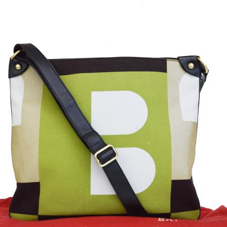 【中古】 バリー BALLY ショルダーバッグ グリーン ベージュ ブラウン ブラック キャンバス レザー 保存袋付き 07ER356