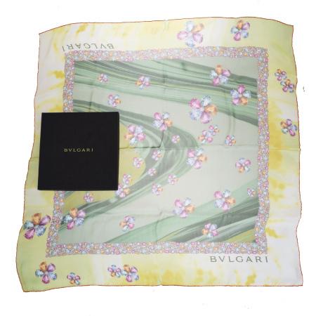 【中古】 美品 ブルガリ BVLGARI 大判 スカーフ 宝石柄 グリーン シルク 100% 保存箱付き 07ER427