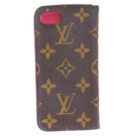送料無料 【中古】 ルイヴィトン LOUIS VUITTON iPhone7 フォリオ スマホケース カバー モノグラム ピンク レザー M61906 08ER452