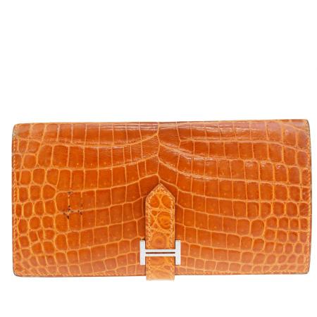 【中古】 エルメス HERMES ベアン 二つ折り 長財布 オレンジ クロコダイル レザー 56ER446