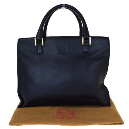【中古】 中美品 ロエベ LOEWE ハンドバッグ ブラック レザー 保存袋付き 88ER523