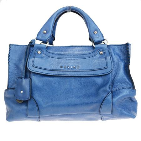 【中古】 中美品 セリーヌ CELINE ブギー ハンドバッグ ブルー レザー 05ER659