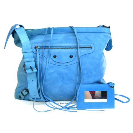 【中古】 中美品 バレンシアガ BALENCIAGA ショルダーバッグ ライトブルー レザー 保存袋 ハンドミラー付き 64ER832