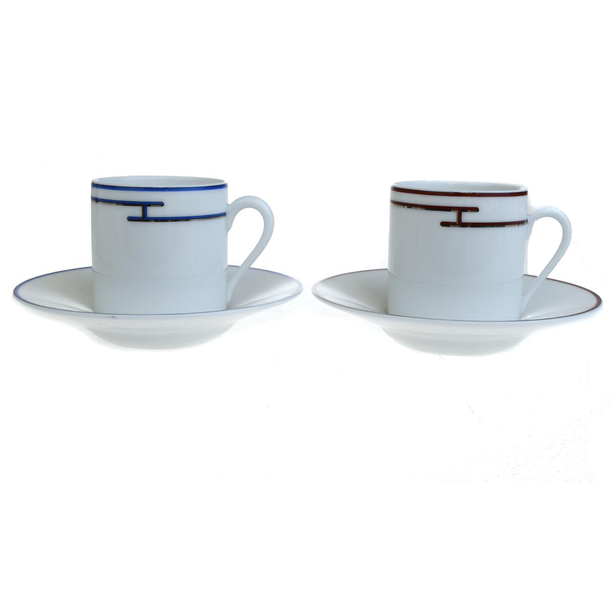 【中古】 超美品 エルメス HERMES カップ&ソーサー 2客セット ペアセット ブルー ホワイト 陶器
