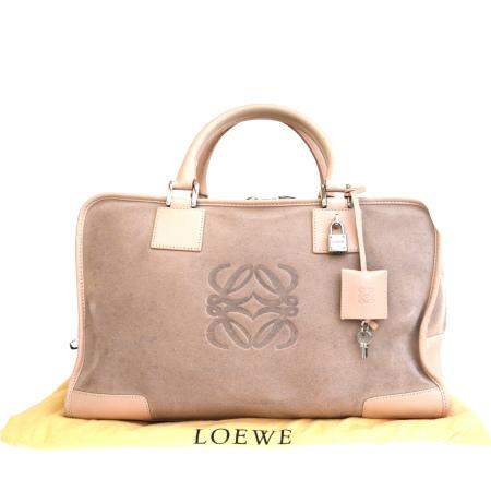 【中古】 ロエベ LOEWE アマソナ ハンドバッグ ピンク スエード レザー パドロック 保存袋付き 65ER915