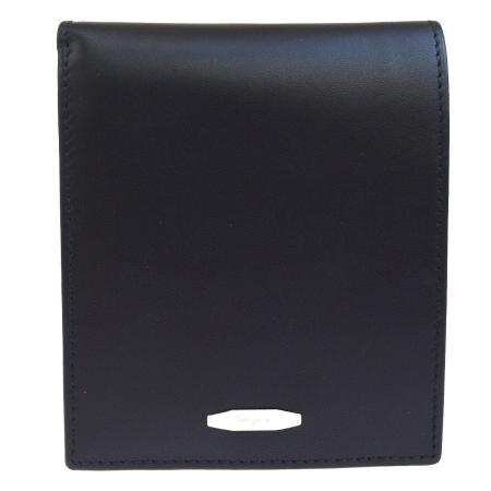 【中古】 超美品 サルバトーレフェラガモ Salvatore Ferragamo 二つ折り 札入れ カード入れ 財布 ブラック レザー 68ES233