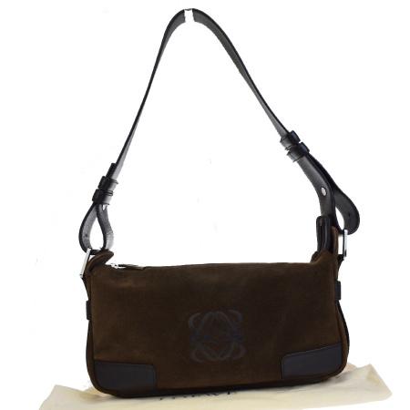 【中古】 中美品 ロエベ LOEWE ショルダーバッグ ブラウン スエード レザー 保存袋付き 30ES329