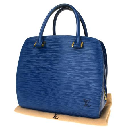 送料無料 【中古】 ルイヴィトン LOUIS VUITTON ポンヌフ ハンドバッグ エピ トレドブルー レザー 保存袋付き M52055 32BJ685