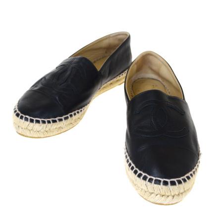 【中古】 シャネル CHANEL エスパドリーユ デッキ スニーカー 靴 ココマーク ブラック レザー レディース 38 25cm 84BJ888