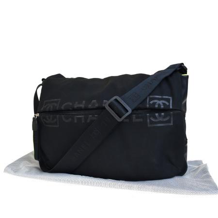 【中古】 シャネルスポーツ CHANEL SPORT ショルダーバッグ ココマーク ブラック ナイロン ラバー 保存袋付き 37BJ938