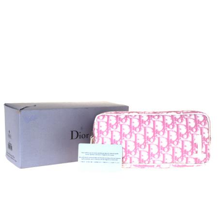 【最安値挑戦】 【】 中美品 クリスチャンディオール Christian Dior トロッター ポーチ バッグ ピンク PVC エナメル 保存箱付き 07ET008, 水処理用品オンライン 7282b38d