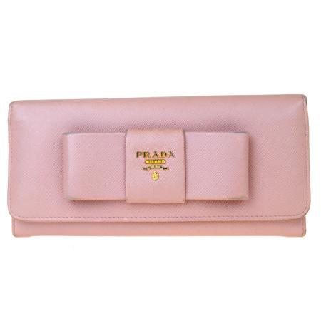 【中古】 プラダ PRADA 二つ折り 長財布 サフィアーノ リボン ピンク レザー 01ET013