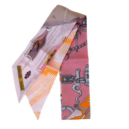 【中古】 エルメス HERMES ツイリー スカーフ ボトルシップ柄 ピンク シルク 100% 02ET464