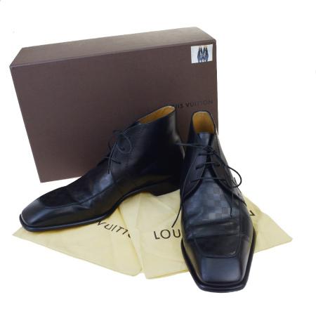 【中古】 美品 ルイヴィトン LOUIS VUITTON ビジネスシューズ 靴 ハイカット ダミエ ブラック レザー メンズ 9 27.5-28cm 保存箱付 05ET436