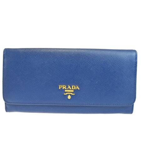 【中古】 プラダ PRADA 二つ折り 長財布 サフィアーノ ブルー レザー 60SA019