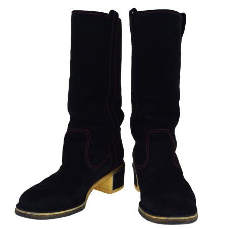 【中古】 シャネル CHANEL ブーツ 靴 ココマーク ブラック スエード レディース 37.5 24.5cm 63SA159