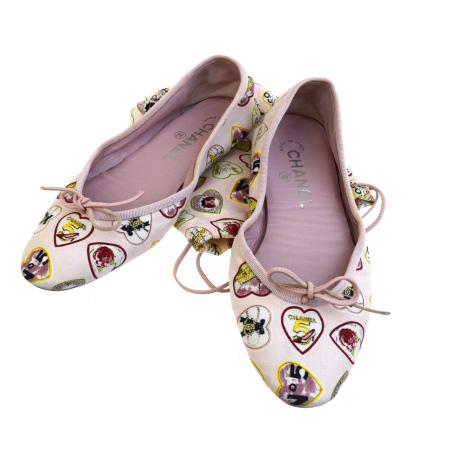 【中古】 シャネル CHANEL ルームシューズ フラット 靴 ココマーク No.5 ピンク キャンバス レディース 35 22cm 保存袋付き 37SA179