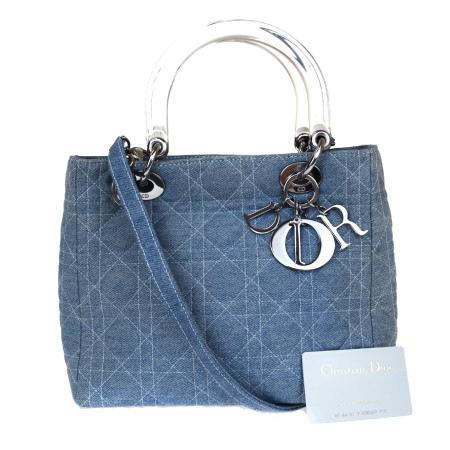 【中古】 中美品 クリスチャンディオール Christian Dior ハンドバッグ ショルダー 2WAY レディ カナージュ デニム ライトブルー 74AC056