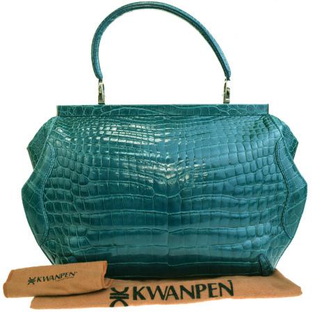 送料無料 【中古】 クワンペン KWANPEN ショルダーバッグ ハンド グリーン クロコダイル 保存袋付き 77AC012
