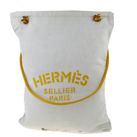 送料無料 【中古】 中美品 エルメス HERMES アリーヌ GM ショルダーバッグ アイボリー イエロー キャンバス レザー 32EW183