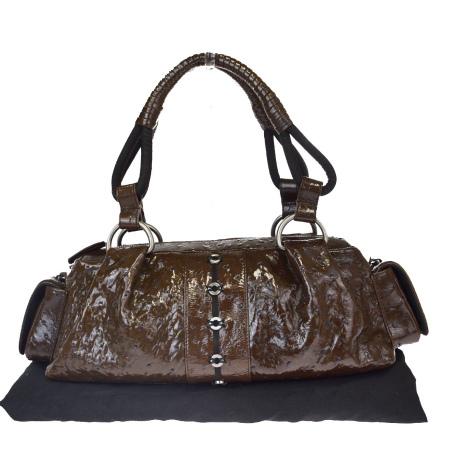 送料無料 【中古】 中美品 ブルガリ BVLGARI ショルダーバッグ ハンド ブラウン コーティング オーストリッチ 保存袋付き 01EW567