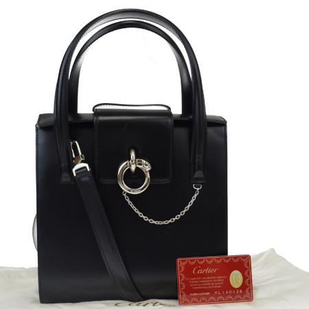 送料無料 【中古】 中美品 カルティエ Cartier パンテール ハンドバッグ ショルダー 2WAY ブラック レザー 保存袋付き 86EW565
