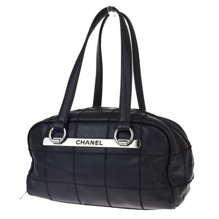 送料無料 【中古】 美品 シャネル CHANEL チョコバー ショルダーバッグ ブラック レザー 67EW519