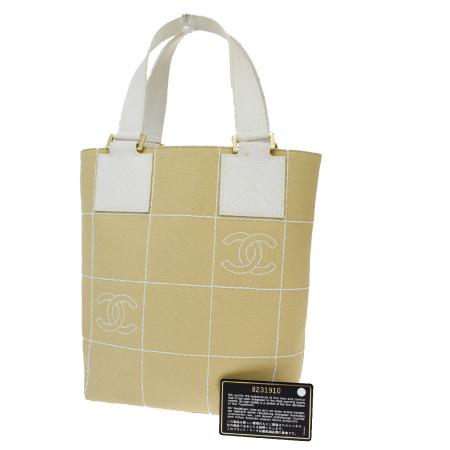 送料無料 【中古】 シャネル CHANEL ハンドバッグ ココマーク ベージュ ホワイト キャンバス 65EW505