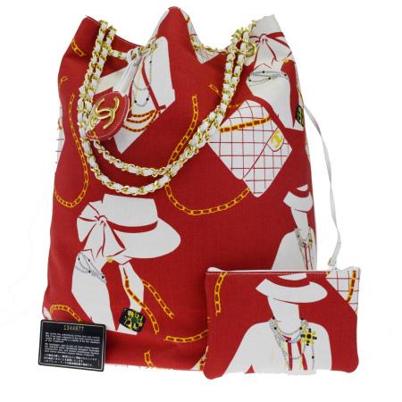 送料無料 【中古】 シャネル CHANEL チェーン ショルダーバッグ 巾着 レッド ホワイト キャンバス レザー ポーチ付き 45L590
