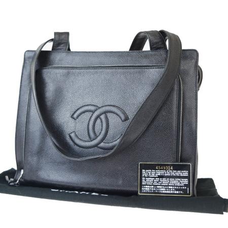 送料無料 【中古】 中美品 シャネル CHANEL ショルダーバッグ ココマーク キャビアスキン ブラック レザー 保存袋付き 96EX965