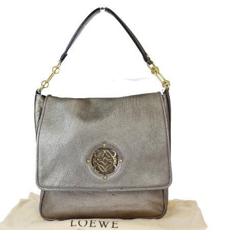 【中古】 中美品 ロエベ LOEWE チェーン ショルダーバッグ ゴールド レザー 保存袋付き 05EX893