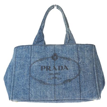 送料無料 【中古】 プラダ PRADA カナパ トートバッグ ハンド デニム ブルー キャンバス 04EX901
